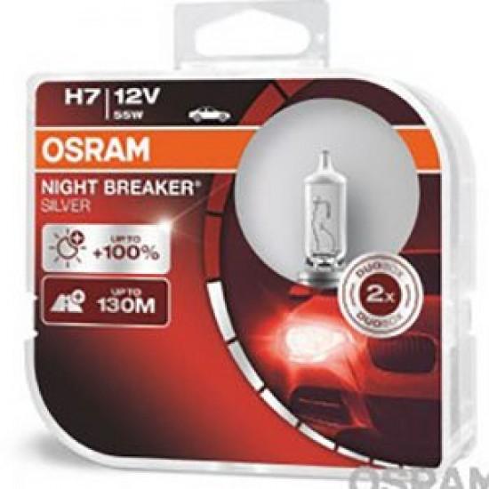 Крушки OSRAM H7-NIGHT BREAKER SILVER +100% 2бр.